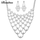 Yiwu factory fashion ladies necklace crystal bridal pearl jewelry set for women S8014