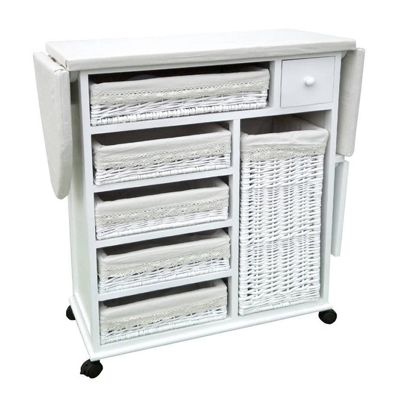 Factory Wholesale Cheap Custom Size Solid Wooden Folding Ironing Board Storage Cabinet With Wicker Drawer