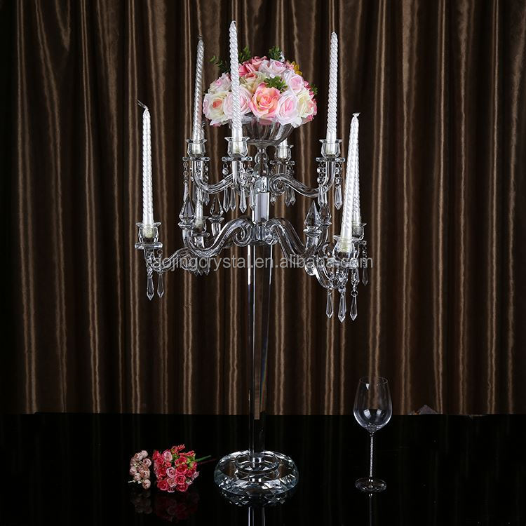 New coming 9arms crystal candelabra wedding table centerpieces with flower bowl