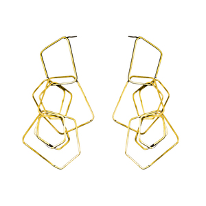 Fashion latest design gold plated stud earring jewelry multi square hoops brass thread geometric earrings for women wholesale