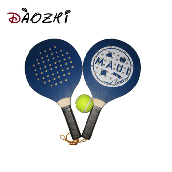 Poplar Made Beach Paddle Ball Set For Promotion Wooden Racket