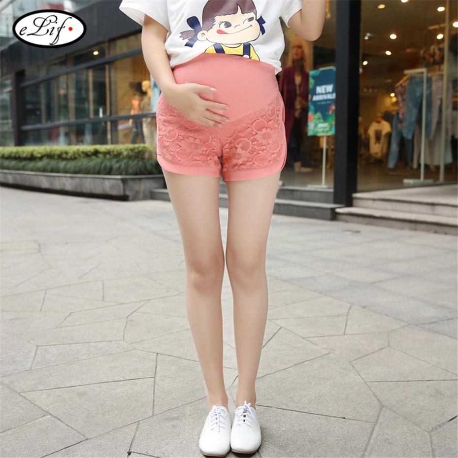 2016 хлопок с кружевом цветочные одежда для беременных шорты одежда беременность брюки для беременных мини-офиса летнее короткие Большой размер