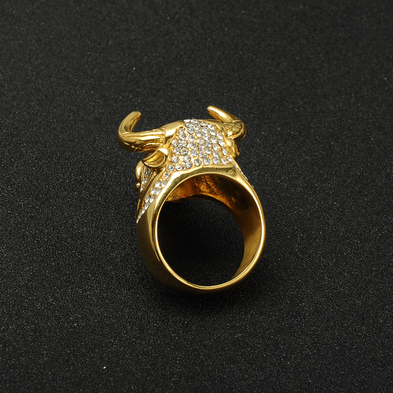 HIP Hop Big Heavy Bling Out Bull Tau hombres Singet anillo Color oro titanio oro anillo