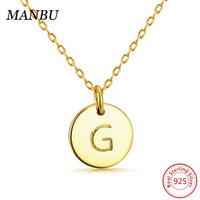 personalized necklace 18k gold plated jewelry initial letter monogram round disc JP22791-P