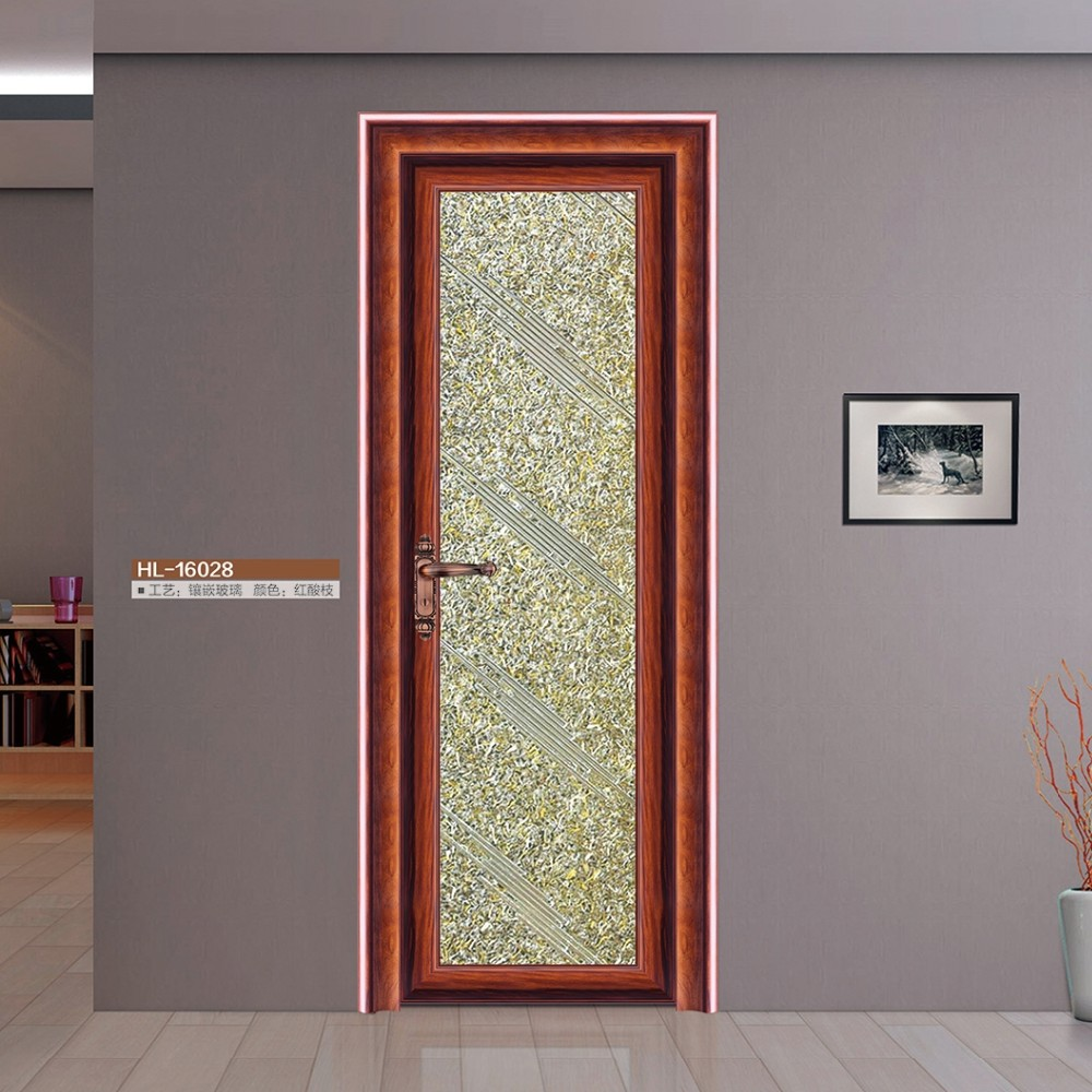 Half Glass Design Aluminum Frame Door Aluminum Doors Interior Single Swing Door For Bathroom