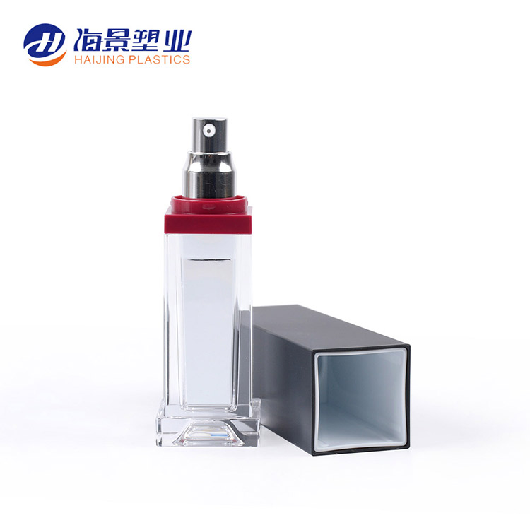 Latest designsquare customizable small clear acrylic plastic bottles jar sample