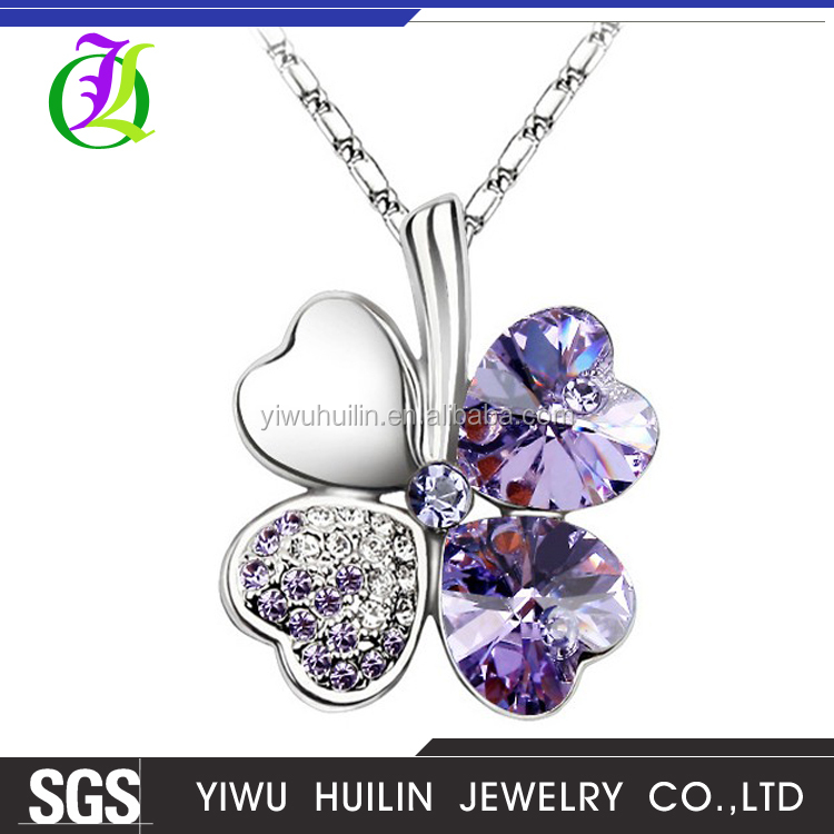 1105007 Yiwu Huilin Jewelry crystal leaf pendant cute anniversary necklace gift for girlfriend