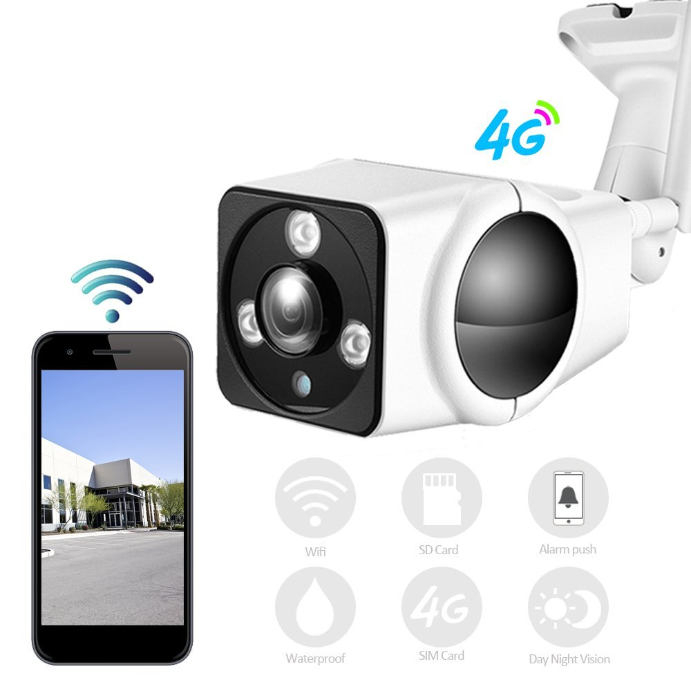 Mini 3G 4G Bullet Security Camera,Wireless Outdoor Surveillance Camera HD 1080P Wi-fi Outdoor Wireless IR IP Camera Alarm CCTV Cam Security Onvif P2P ONVIF H.264 Lens 4mm Nigh Vision 15m