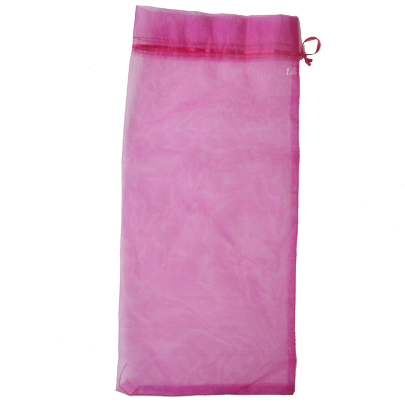 Promotional Hot Pink Color Drawstring Organza Bags Super Large 18*38cm for bottles