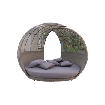 Rattan Furniture Bamboo Daybed Wicker Sunbed With Canopy