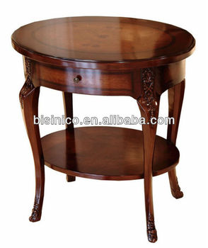Queen Anne Series Living Room Furniture Antique Vintage Circular Double Layer Wine Table Occasional