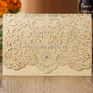 Silver Personalised Laser Cut Wedding Cards Evening Party Invitation Card Free Envelopes