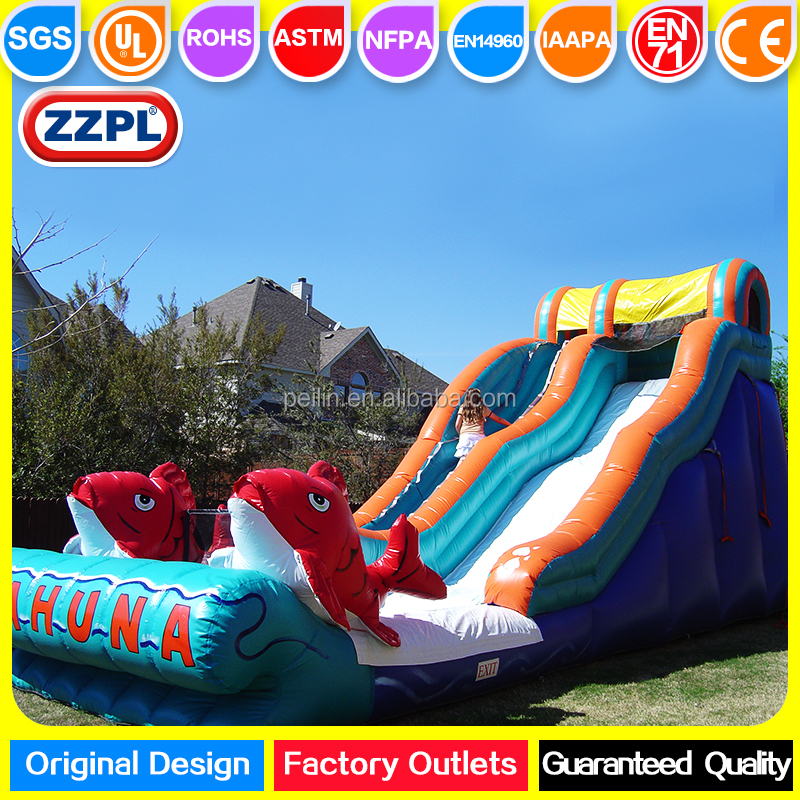 ZZPL Outdoor Giant Commercial Big Kahuna <strong>Inflatable</strong> Dry or Water Slide for Adults and Kids