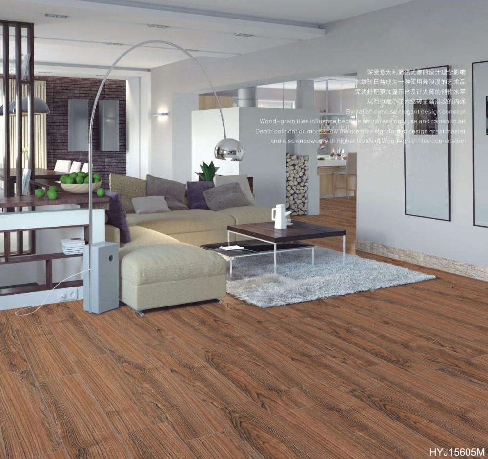 hyj15605m brown color coconut wood grain ceramic wood finish floor tile