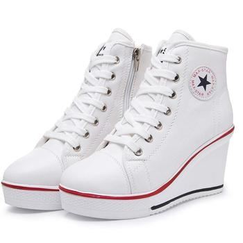 Women Fashion Sneakers Canvas Lace up High Hidden Heel Canvas shoes With Ankle Zipper Wedges