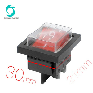 Mounting Hole 30mm x 21mm AC 250V 15A 30A Double Pole Single Throw DPST Boat Rocker Switch