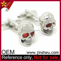 Wholesale Fashion Cool Red Rihnstone Eyes Silver Skull Cufflink