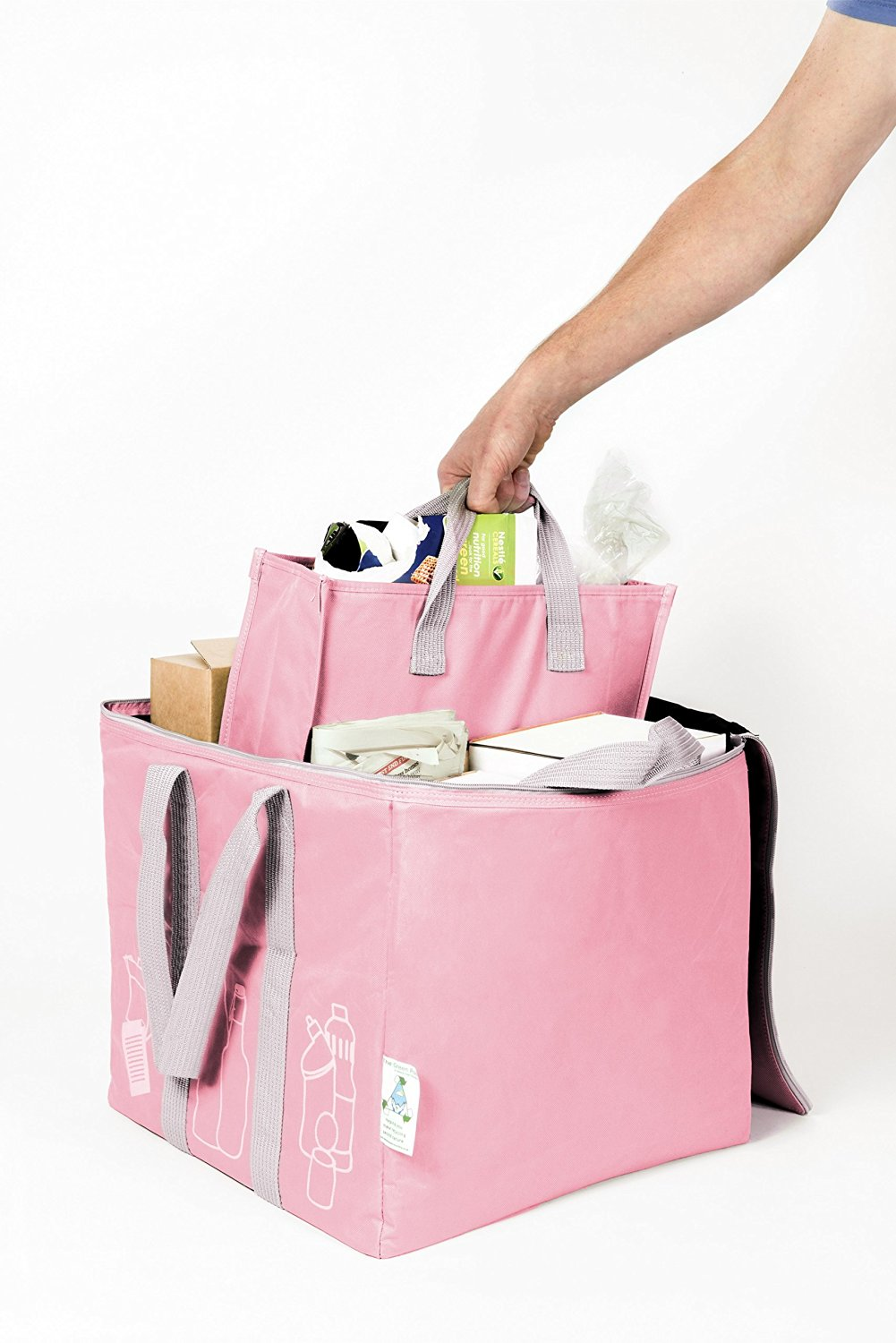 The Patented Green Pod Recycling Bag - with removable bags inside (Pink,50 Litre) by Element Green Recycling