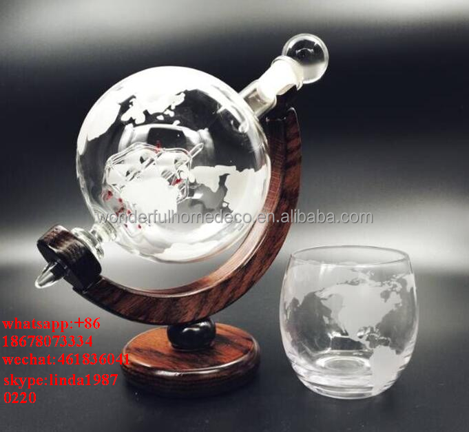 850 ml Whisky Decoratieve Geëtst Glas Globe Decanter voor Geesten Wijn
