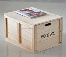 high quality eco-friend big size pine wooden storage box wholesale