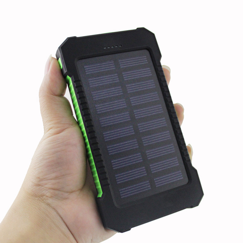 Waterproof plastic solar power banks and external battery chargers with 9 leds