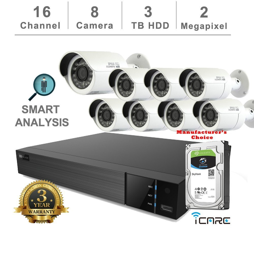 iCare-DVR Smart Analysis DVR Security Kits: 16CH 5 in 1 DVR w/3TB Security HDD+ (8) 2MP Outdoor IR White Bullet (3 Years Warranty; Local US Support)