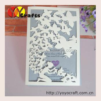 unique design pearl paper lace laser cut wedding invitation card