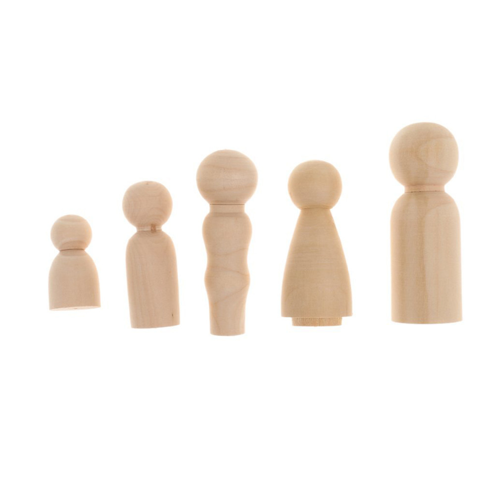 DIY Wood Art <strong>Craft</strong> Painting Five People Wooden Dolls Family Unfinished Wooden Peg Dolls Toys Home Decor Accessories