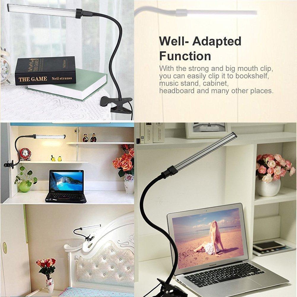 PULNDA LED Desk Lamp –Dimmable Clip on Table Lamp – Flexible Gooseneck LED Eye-caring Desk Light for Reading, Studying, Working, Bedroom, Office