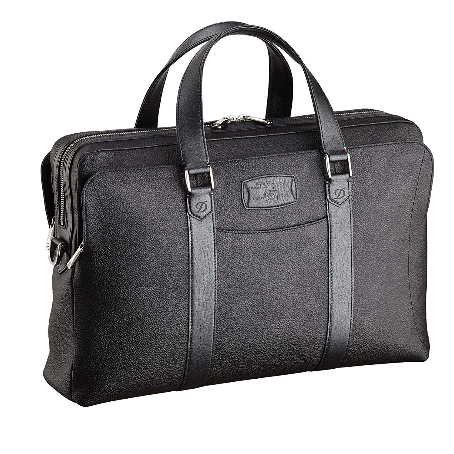 S.T Dupont D-181255 Line D Soft Diamond Grained Leather Laptop and Doc Holder - Black