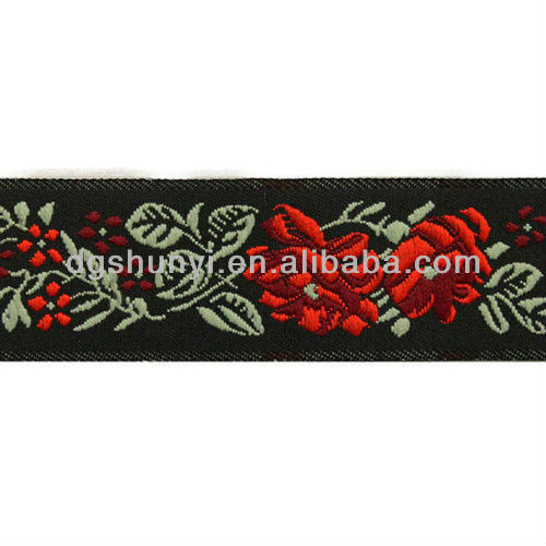 Red Rose Flower Woven Jacquard Ribbon Trim Tape/Taping Embroidery Design/china embroidery