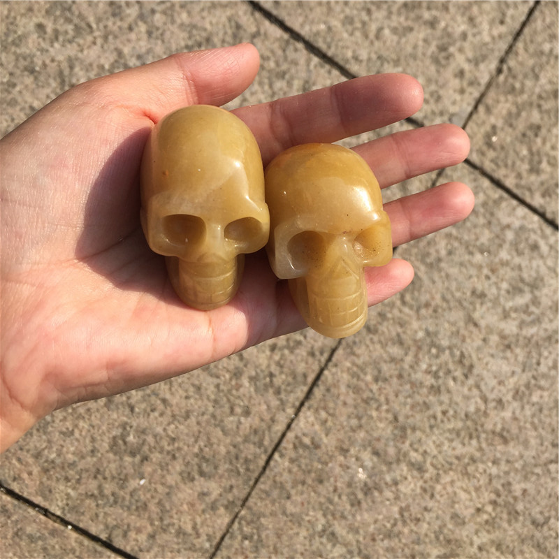 Beautiful natural yellow color jade head carved topaz skulls for decoration