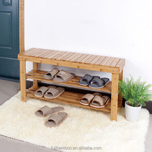 2-Tier Shoe Rack Organizer Entryway Bamboo Shoe Bench