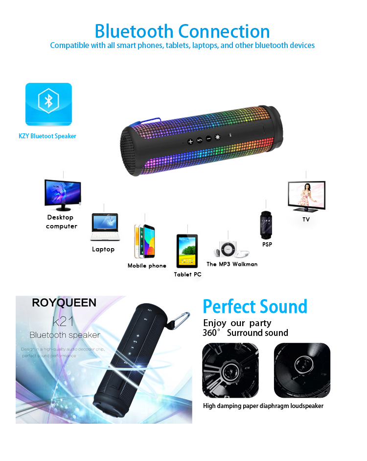 New Multifunction Portable LED Outdoor Sport Bluetooth Wireless Speaker