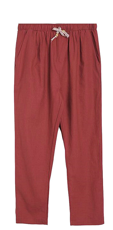 Cromoncent Womens Elastic-Waist Harem Fleece Velour Sports Jogging Pants