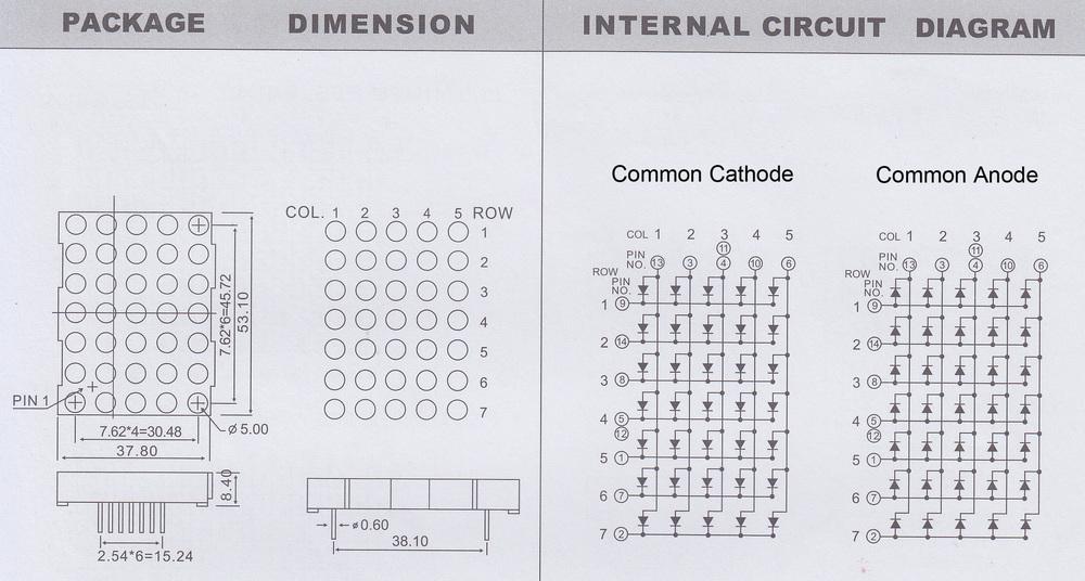 5x7 dot matrix led dia 5 0mm red 5x7 led dot matrix display