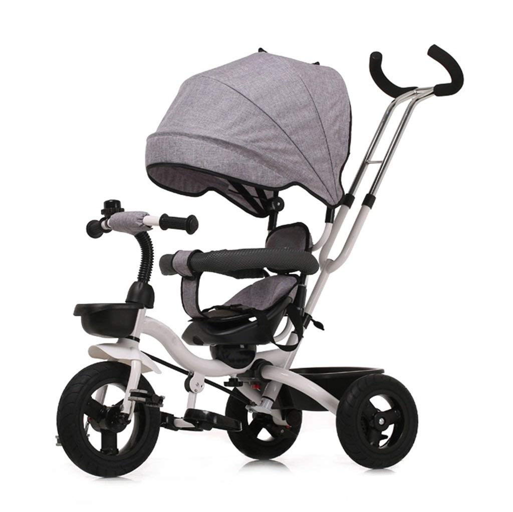Strollers DD Tricycle Baby Carriage Bike Child Toy Car Foldable Bilateral steering 3 Titanium Empty Wheels Bicycle with Protective Awning,(Boy/Girl,6 months -5 years old) (Color : Gray)
