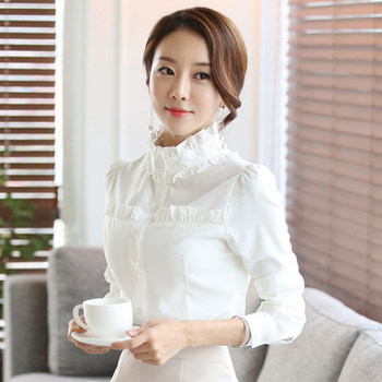 314af7f076d9c8 2018 new style women white shirts long sleeve Korean white blouse office  lady