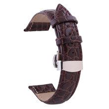 Ремешок для часов из натуральной кожи Двойной Пресс Автоматическая пряжка Бабочка плоский интерфейс часы Ремни Аксессуары 12 мм-24 мм(Китай)