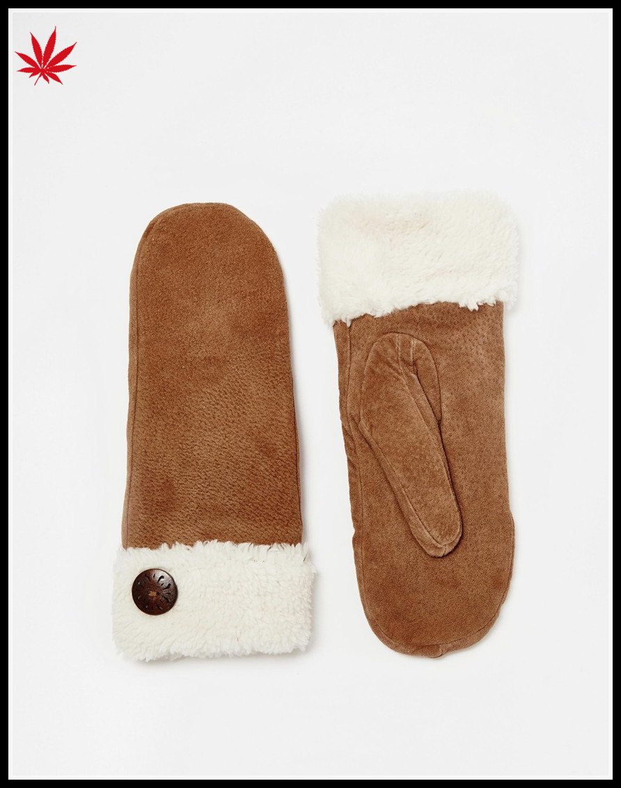 women wholesale brown suede double face mittens with button