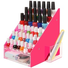 Pink & Clear 36 Bottles Acrylic Nail Polish Rack Organizer Riser Display Stand w/ Drawer and Holder Cup