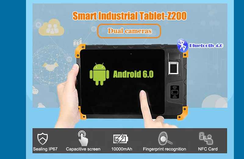 "Rugged 3G / 4G Smart 8"" Biometric Fingerprint Scanner Touch Scree 8 Inch Industrial Android Tablet PC HCC-Z200"