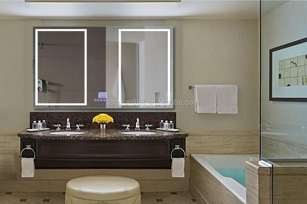 Eau de luxe led clair mural miroir de bain avec horloge - Miroir salle de bain lumineux avec prise de courant ...