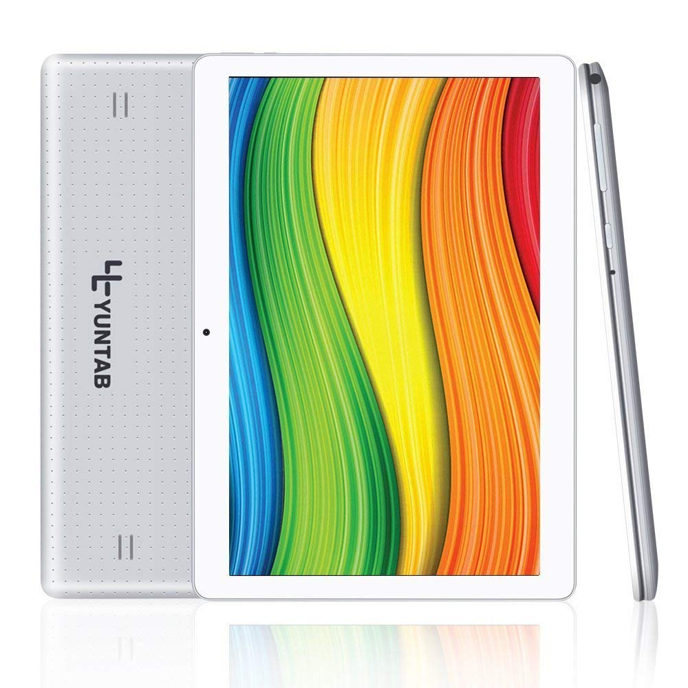 Yuntab K107 10.1 Inch Quad Core CPU MT6580 Cortex A7 Android 5.1,Unlocked Smartphone Phablet Tablet PC,1G+16G,HD 800x1280,Dual Camera,IPS,WiFi,G-sensor,GPS,Support 3G Dual SIM Card(Silver)