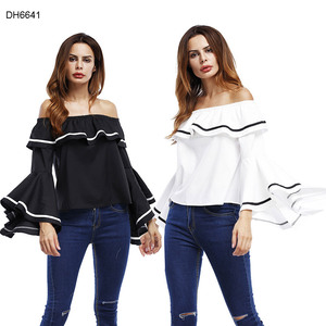 Latest fancy elegant clothing plain crop tops ladies tops long sleeves women Ladies' Blouses and Tops