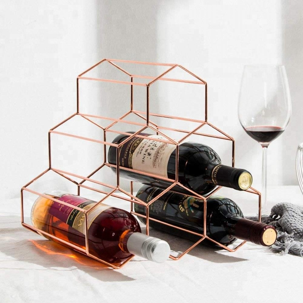 550-10 Nordic style tabletop rose gold 6 bottles metal wine rack for home restaurant bar