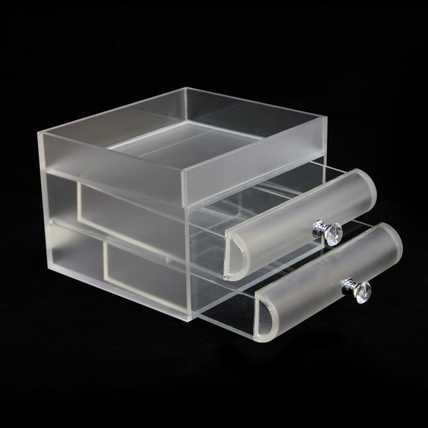 2016 Online Shopping Custom Clear Cosmetic Storage Drawer Box Crystal Handle, Acrylique givré Maquillage Cosmétique Affichage Vente en gros