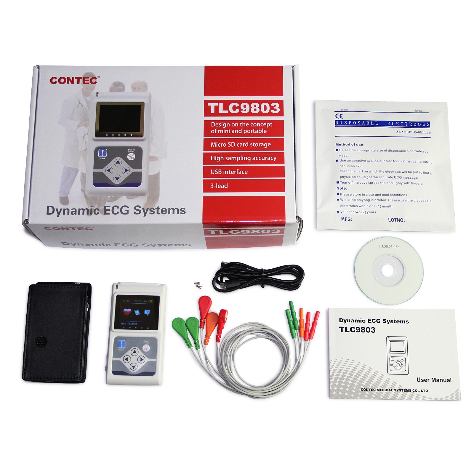 CONTEC TLC9803 ECG 3 Channel Holter ECG System + PC Software 24 Hours Recorder Dynamic 3-lead ECG Systems