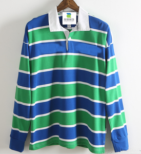 wholesale custom striped two color long sleeve men cotton work polo t shirt