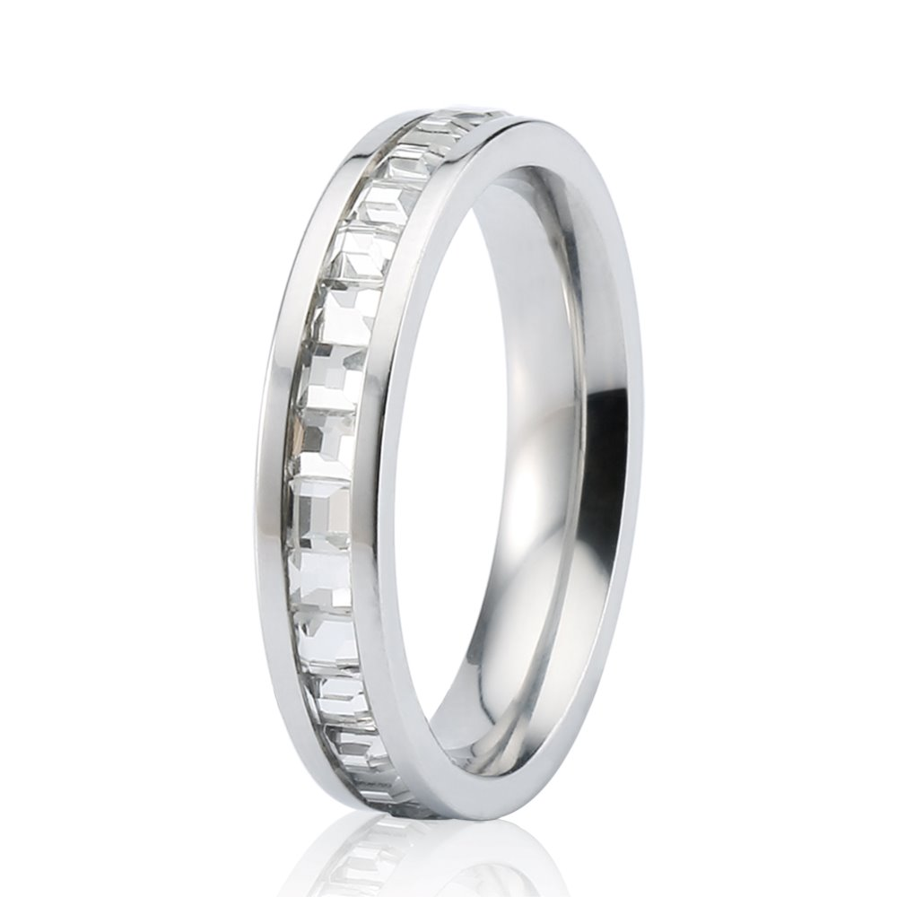 2016 New Women Men's 316L Stainless Steel CZ Ring With Yellow Silver Colors For Choice